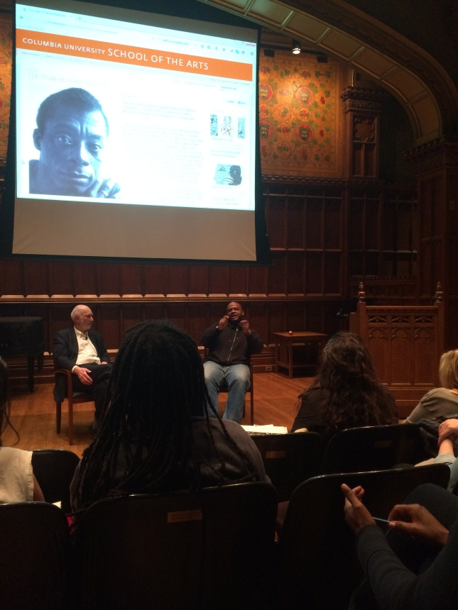 Phillip Lopate and Kiese Laymon at Columbia University.